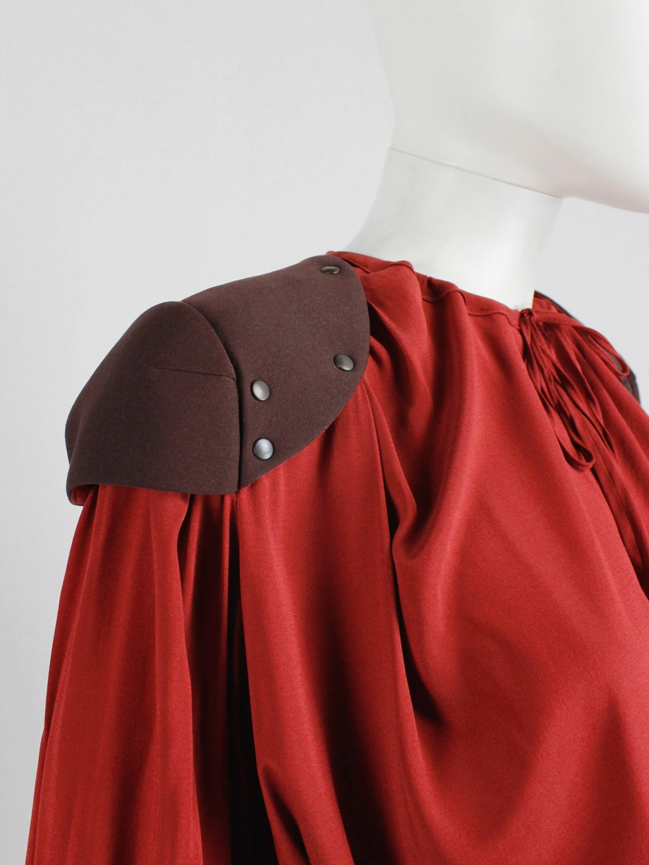 A.F. Vandevorst red draped blouse with brown riveted shoulder pads — fall 2010