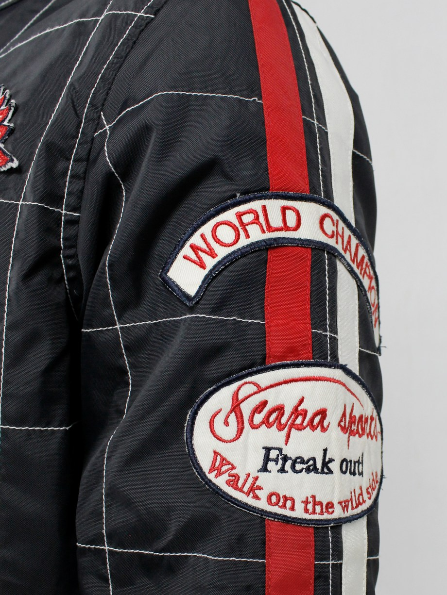 Walter Van Beirendonck for Scapa dark blue 'Formula 1' jacket with red stripes and patches (7)