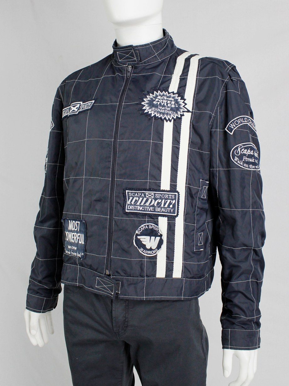 Walter Van Beirendonck for Scapa dark blue 'Formula 1' jacket with white stripes and patches (1)