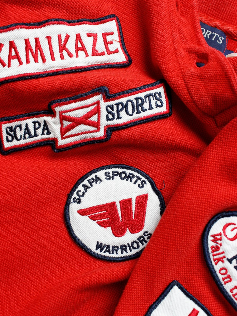 Walter Van Beirendonck for Scapa red 'Formula 1' poloshirt covered with patches (10)