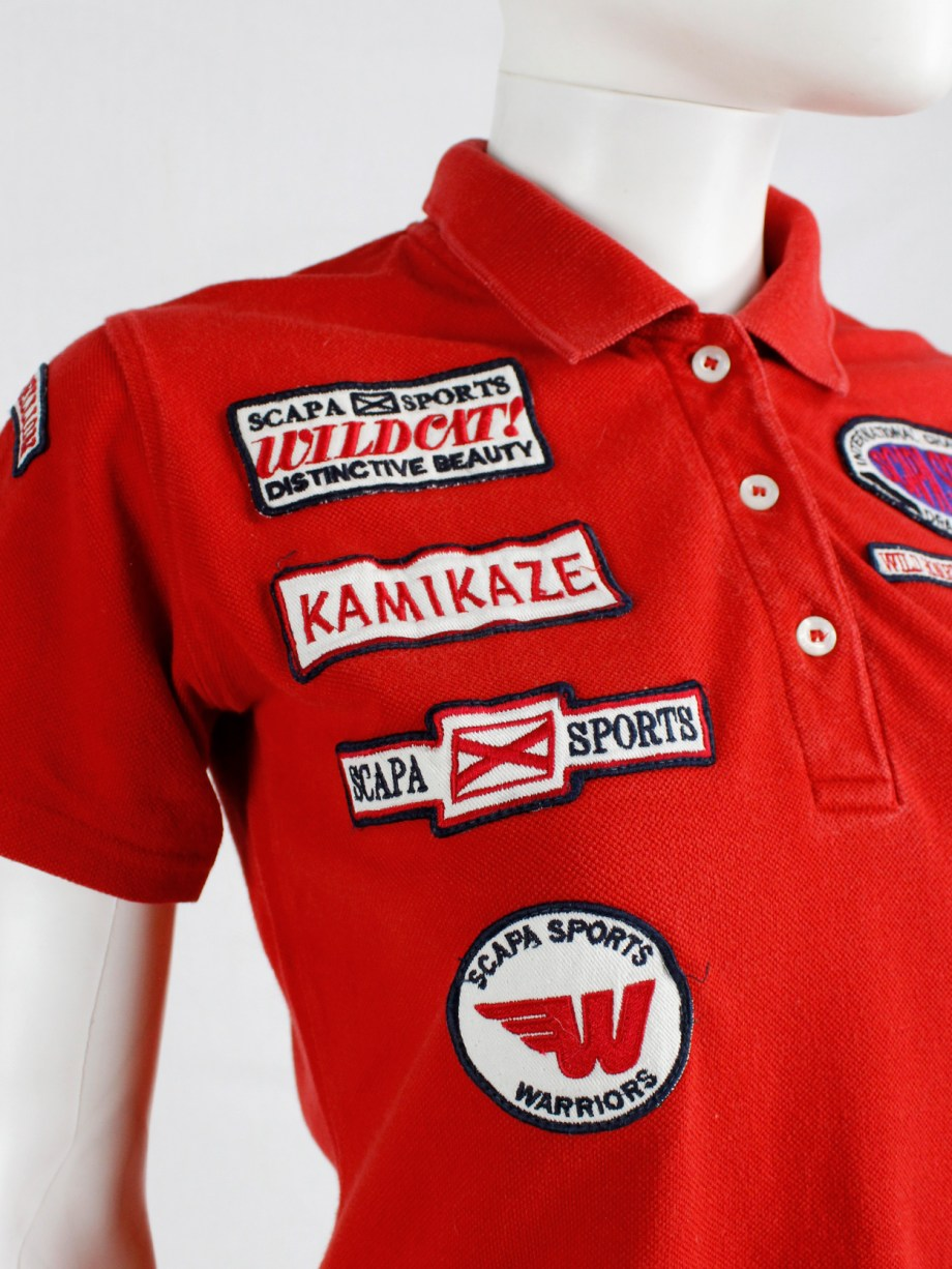 Walter Van Beirendonck for Scapa red 'Formula 1' poloshirt covered with patches (7)