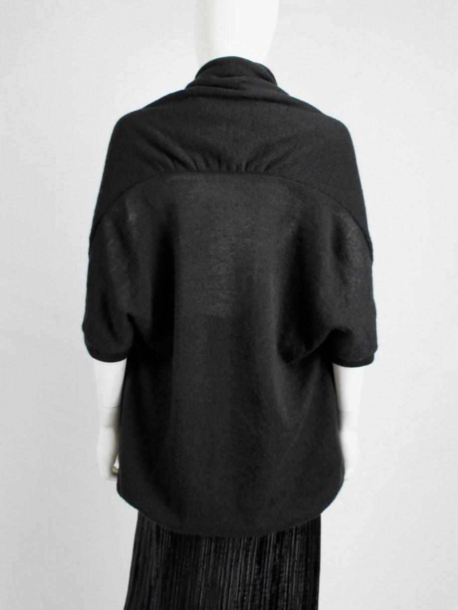 Y's Yohji Yamamoto black oversized cocoon jumper with double neckline