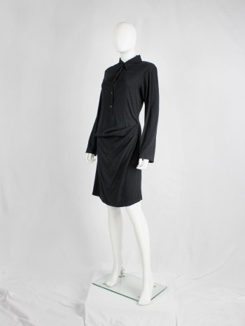Ann Demeulemeester black shirtdress with drape at the hip