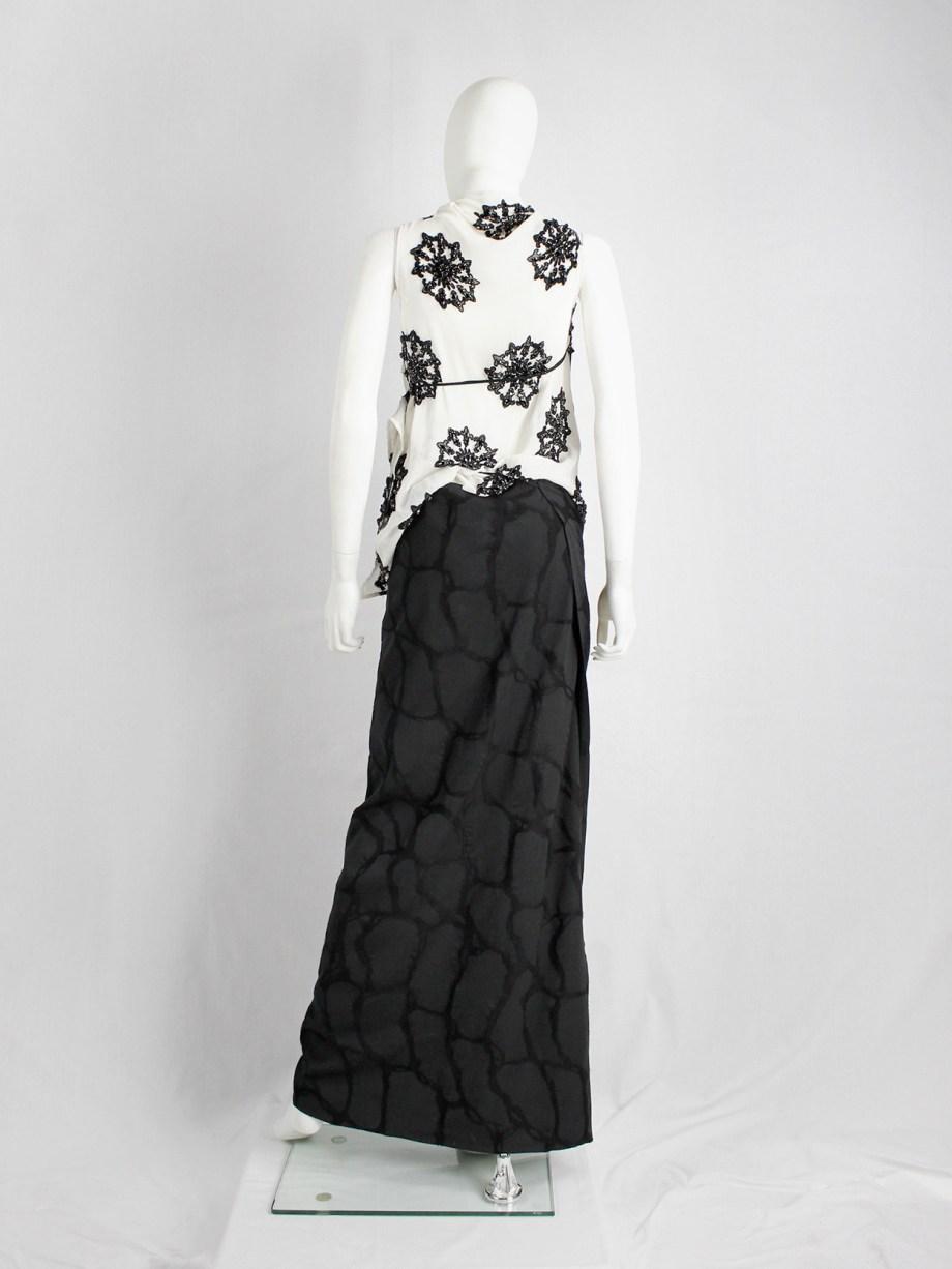 Ann Demeulemeester black maxi wrap skirt with netting pattern — spring 2001