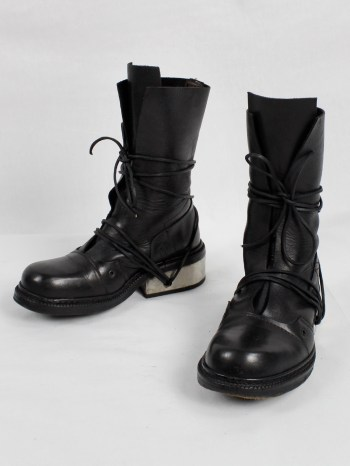Dirk Bikkembergs black tall boots with laces through the metal heel 1990s 90s (14)