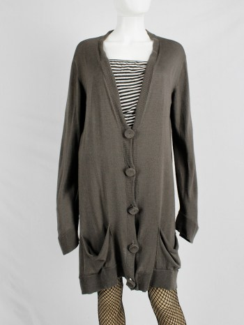 Maison Martin Margiela brown oversized cardigan with fabric covered buttons — fall 2004
