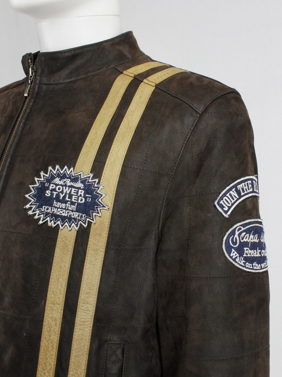 Walter Van Beirendonck for Scapa brown leather 'Formula 1' jacket with beige stripes and patches (4)