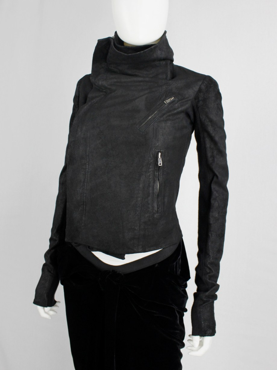 Rick Owens black leather classic biker jacket with standing neckline
