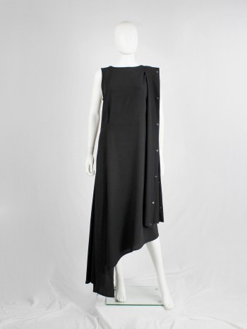 Ann Demeulemeester black asymmetric maxi dress with snap button sash — spring 2013
