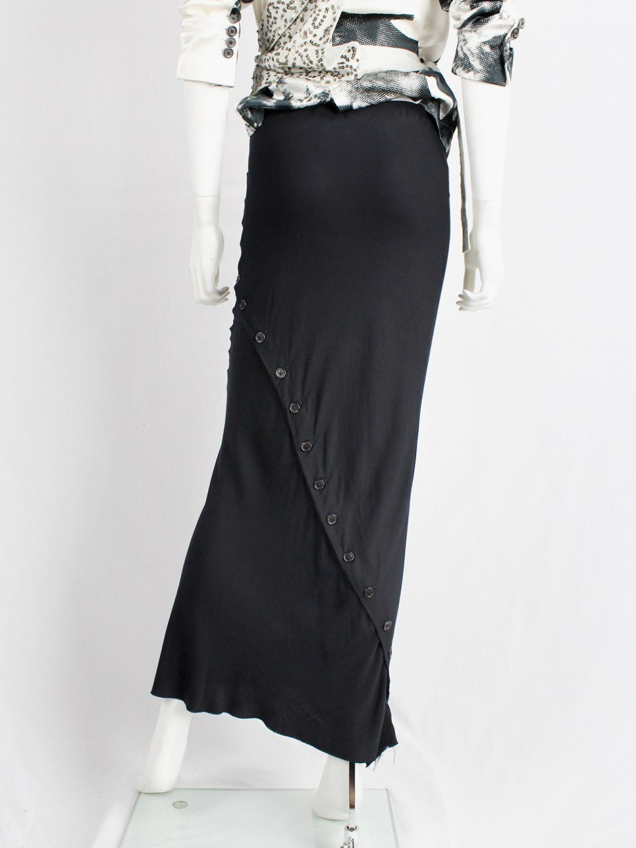 Ann Demeulemeester black maxi skirt with buttons twisting around it — fall 2010