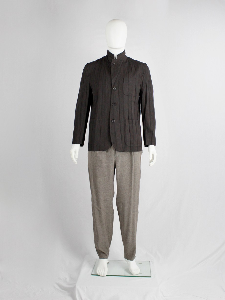 Comme des Garçons Homme brown blazer with pressed accordeon pleats — AD 2004
