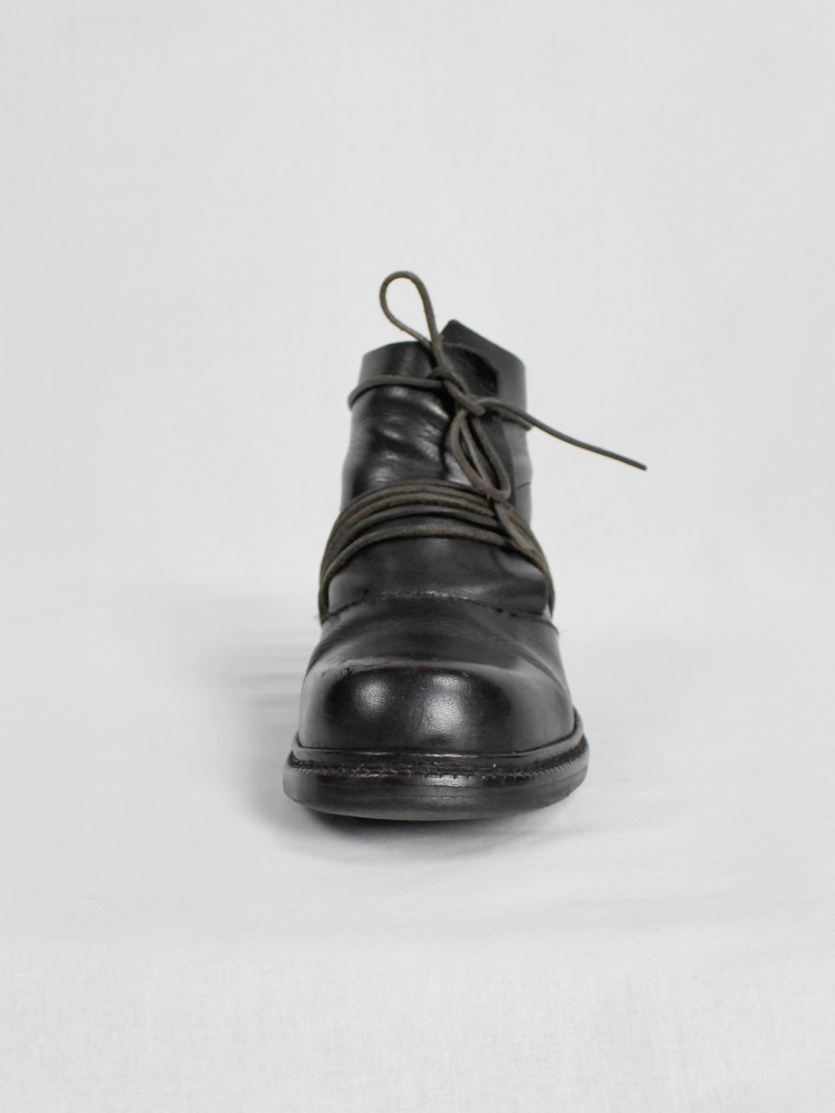 Dirk Bikkembergs black boots with flap and laces through the soles fall 1994 (17)