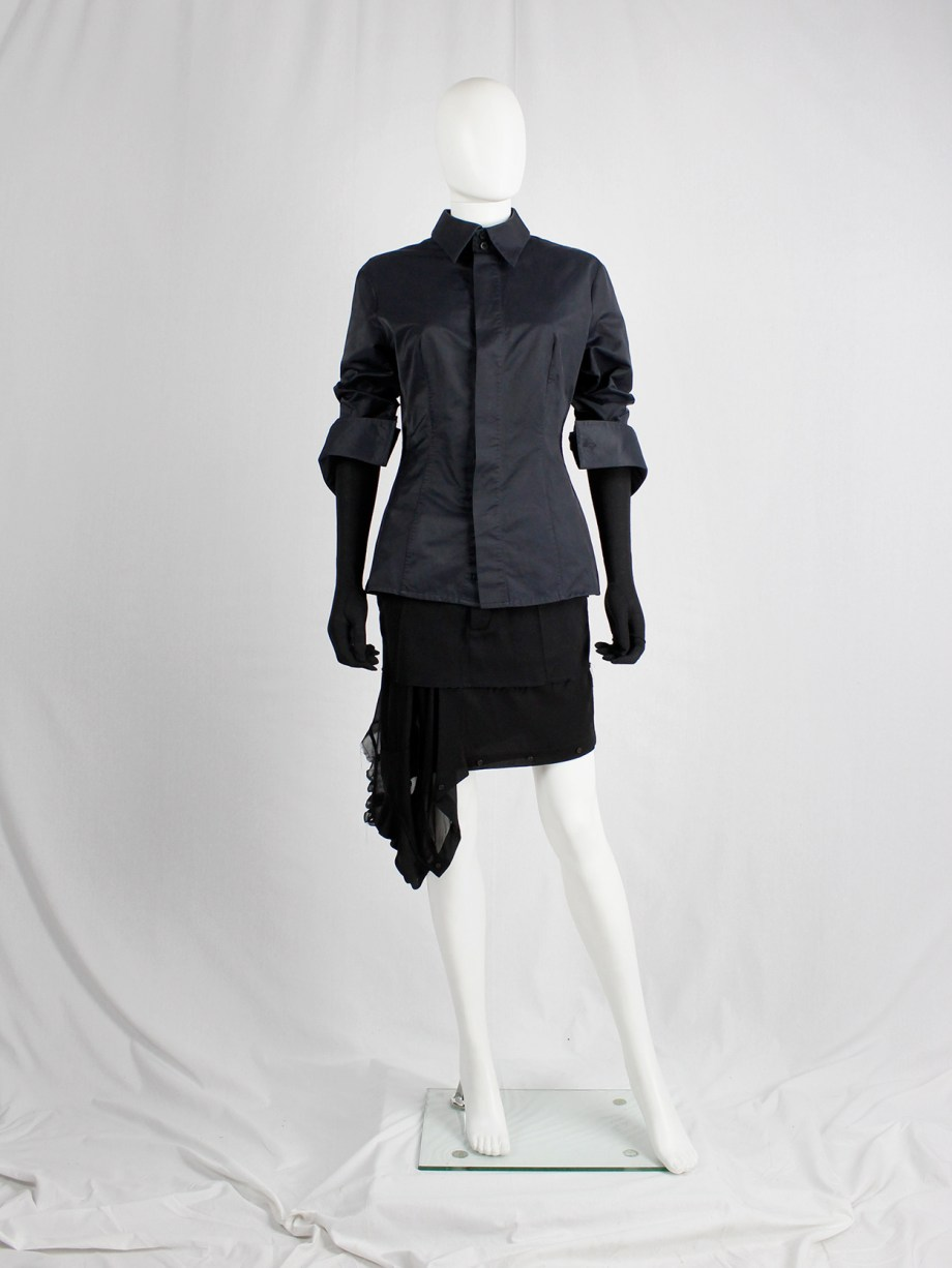Dirk Bikkembergs black tailored shirt with wide hips and extra long cuffs — circa 2003