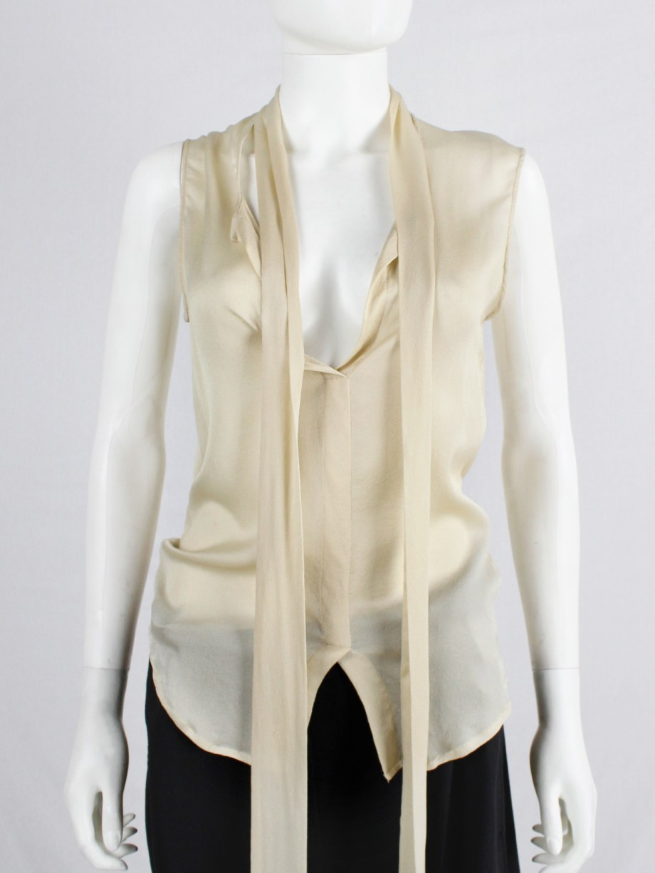 Haider Ackermann pastel yellow blouse with neckties with long fringes