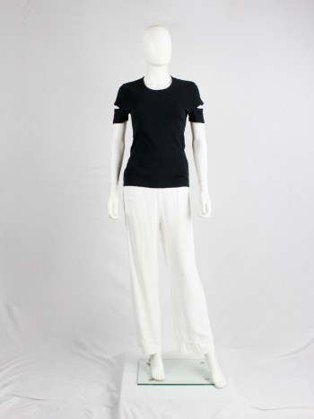 Helmut Lang black t-shirt with open slits at the sleeves — 1998