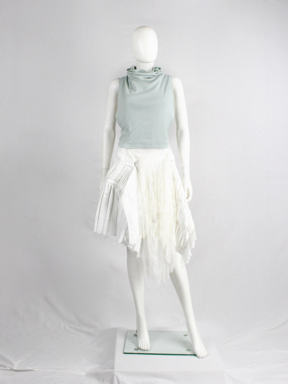 Maison Martin Margiela artisanal mint green top made of a jumper with twisted sleeves — ca 2004