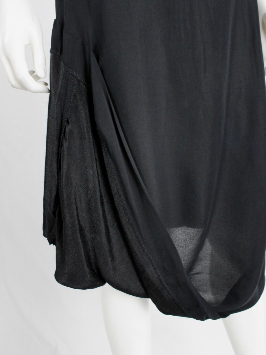 Maison Martin Margiela black partly lifted skirt with exposed lining — spring 2003