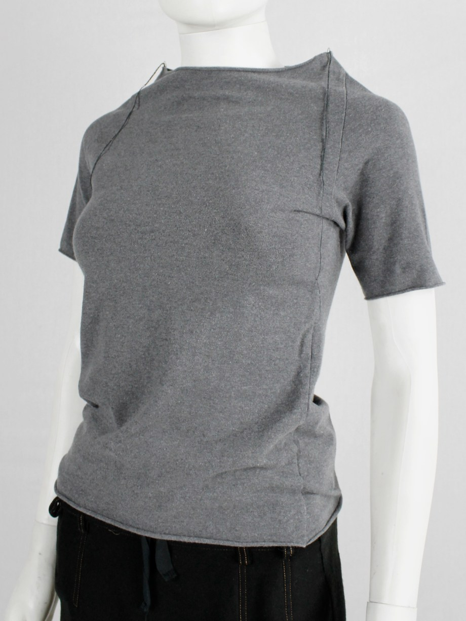 Maison Martin Margiela grey high neck t-shirt with loose threads — fall 1998