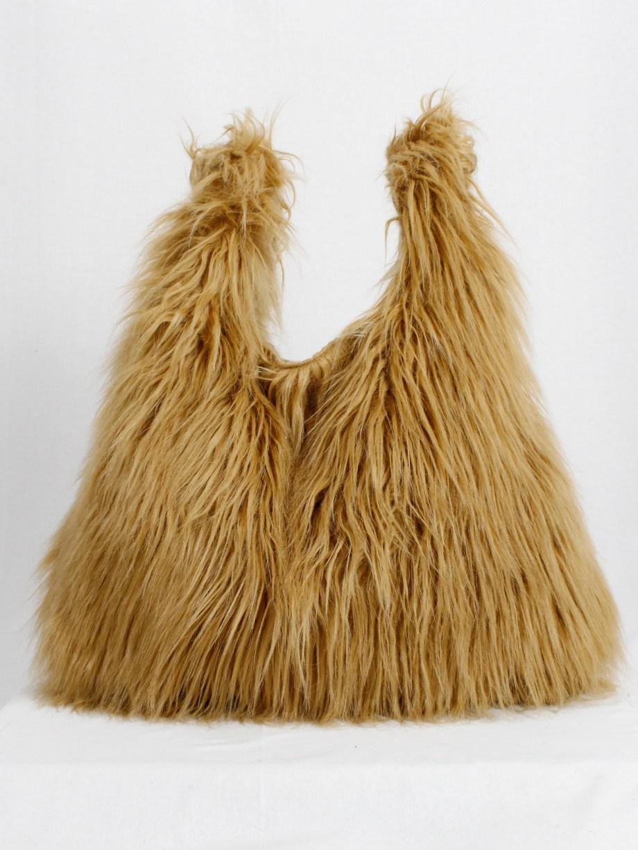 Margiela MM6 orange faux fur yeti shopper with clear outer pocket — fall 2016