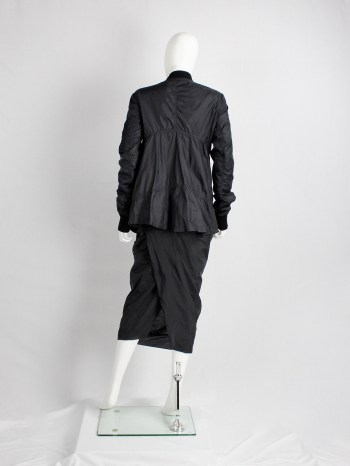 Rick Owens ISLAND black midi-length pillar skirt with back slit — spring 2013