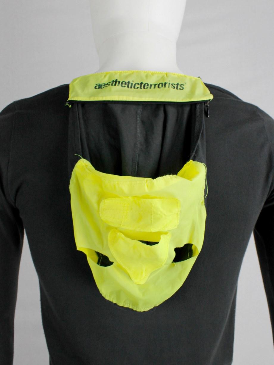 Walter Van Beirendonck Aestheticterrorists grey jumper with neon yellow mask — spring 2002