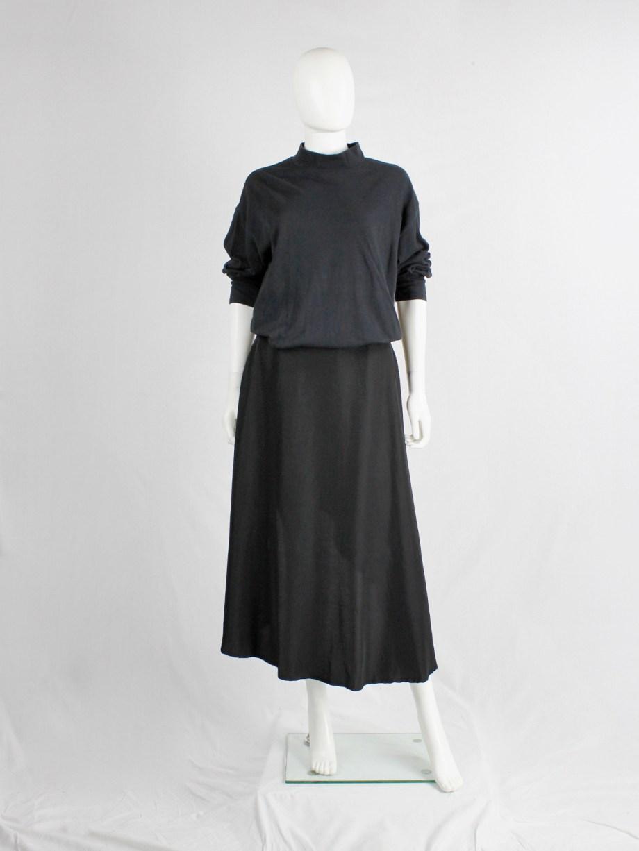 Y's Yohji Yamamoto black asymmetric circle skirt with backwards high-low hem