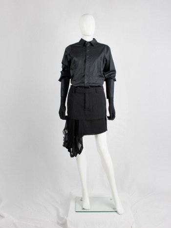 A.F. Vandevorst black shirt with extra long cuffs and silver buttons — fall 2012