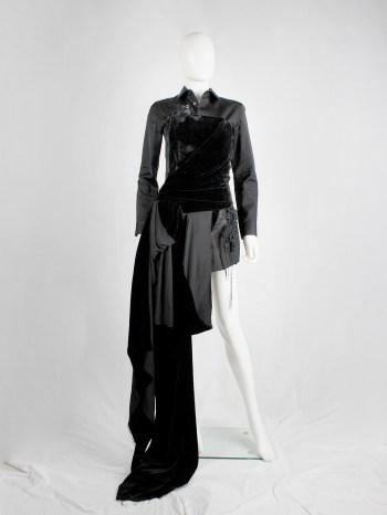 A.F. Vandevorst black velvet bustier with sash and floor-length side drape — fall 2016