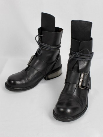 Dirk Bikkembergs black tall boots with belt strap and laces (44) — late 90's