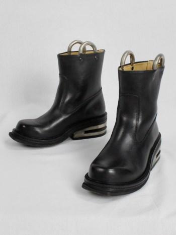 Dirk Bikkembergs black tall boots with metal slit heel and metal pulls (38) — mid 90's