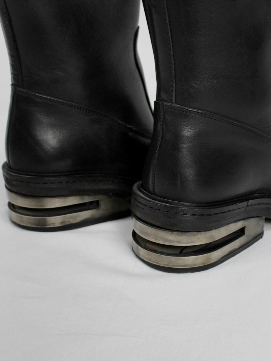 Dirk Bikkembergs black tall boots with metal slit heel and metal pulls (38) — mid 90's