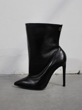 A.F. Vandevorst Black Beauty stiletto ankle boots with brown diamond cross (38) — pair 2/12