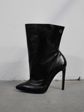 A.F. Vandevorst Black Beauty stiletto ankle boots with brown diamond cross (39) — pair 3/12