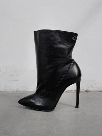 A.F. Vandevorst Black Beauty stiletto ankle boots with brown diamond cross (37) — pair 1/12