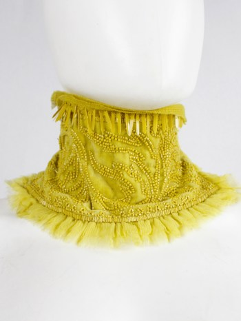 Dries Van Noten yellow beaded Edwardian collar with droplet sequins — spring 2017