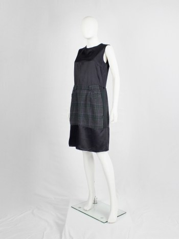 Maison Martin Margiela artisanal dark blue dress with inserted deconstructed tartan skirt — fall 2002