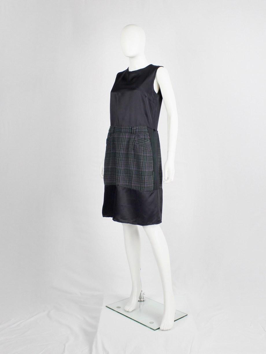 Maison Martin Margiela artisanal dark blue dress with inserted deconstructed tartan skirt — fall 2002