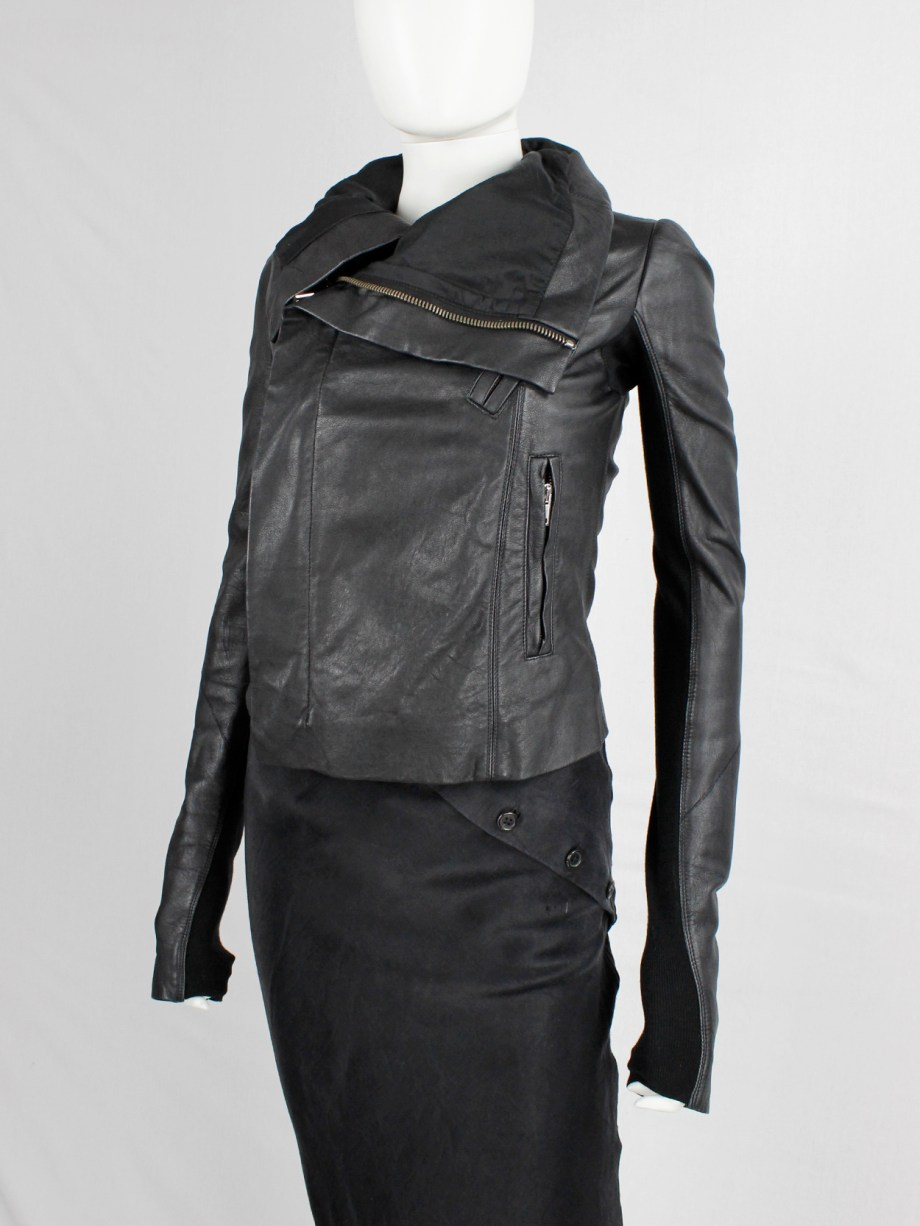 Rick Owens black leather asymmetric biker jacket with high standing neckline