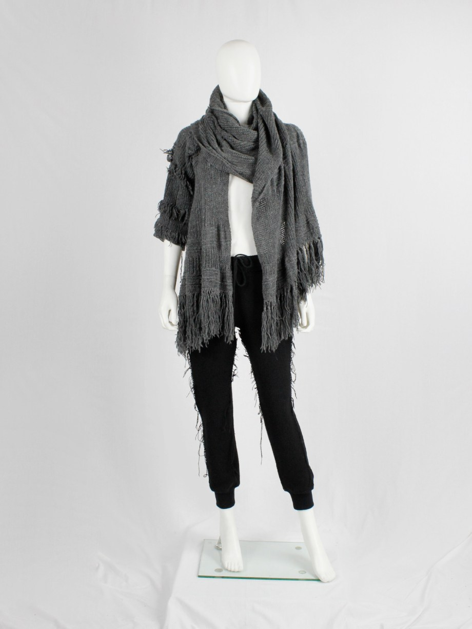 Wim Neels grey frayed extra long scarf with one jumper sleeve — 1990's