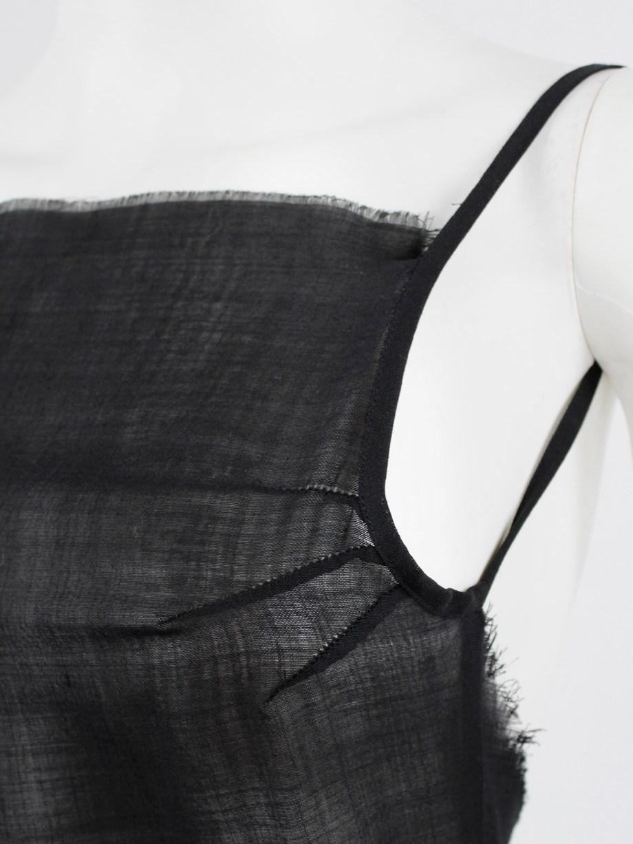 A.F. Vandevorst black backless maxi dress with gathered slanted skirt — fall 1999