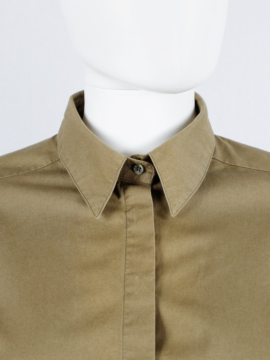 A.F. Vandevorst ochre shirt with short knitted striped sleeve detail — fall 2002