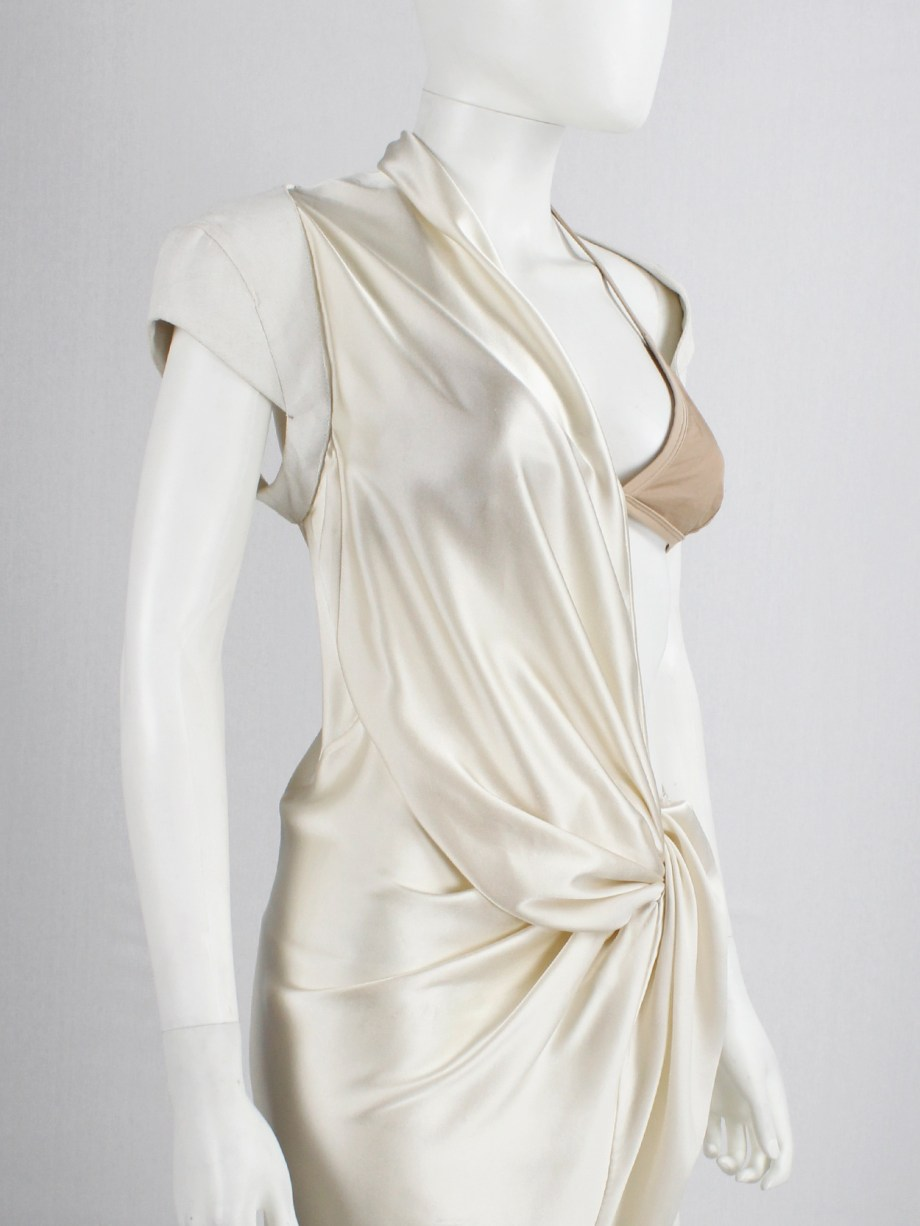 A.F. Vandevorst pearl draped one-bust dress with white burlap shoulder panel — spring 2011