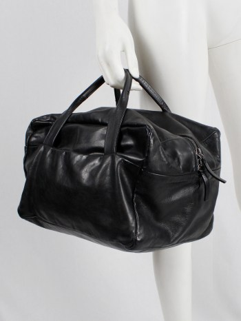 Ann Demeulemeester Blanche black rectangular leather boston bag
