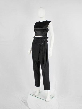 Ann Demeulemeester black harem trousers with 2 belt straps and front pleat — fall 2010