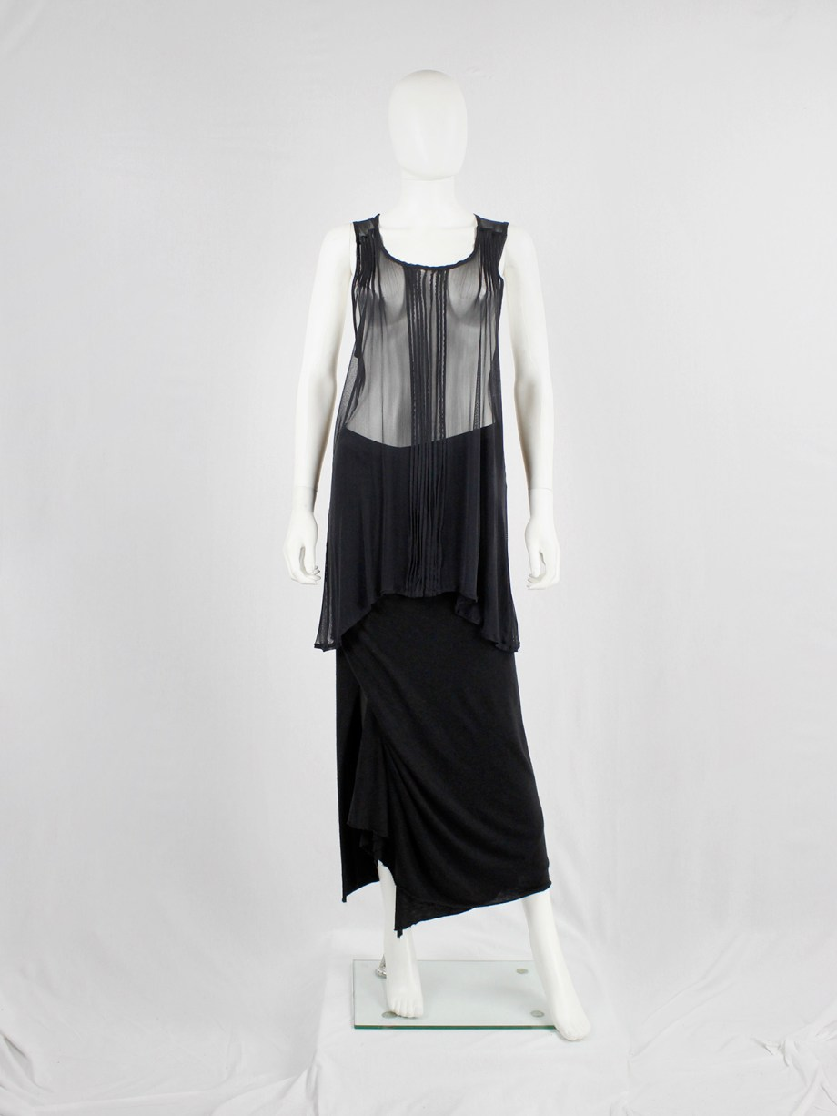 Ann Demeulemeester black long sheer top with pleated lines — fall 2013