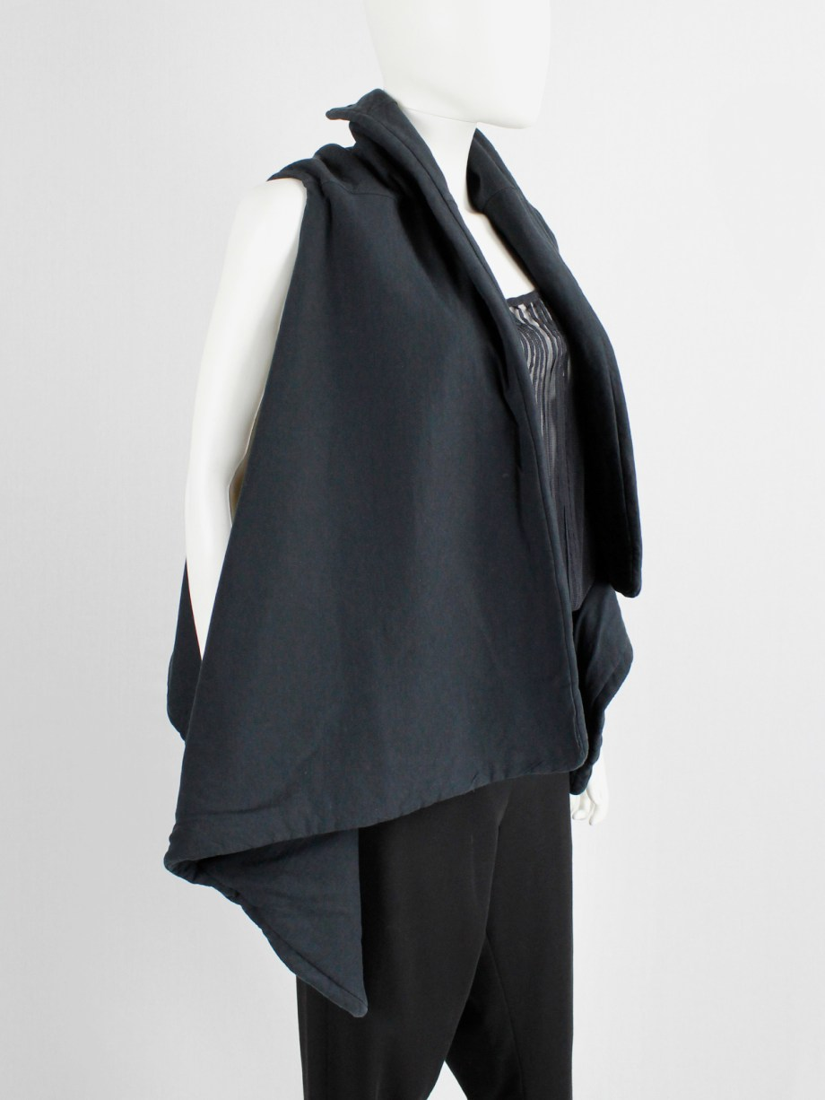 Ann Demeulemeester black padded waistcoat with asymmetric drape
