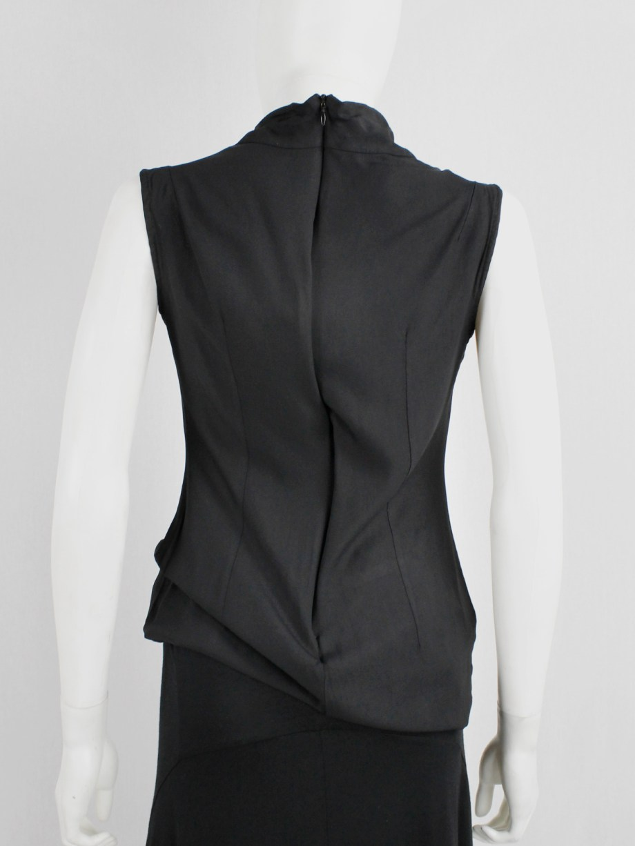 Ann Demeulemeester black long top with cowl draped neckline — fall 1998