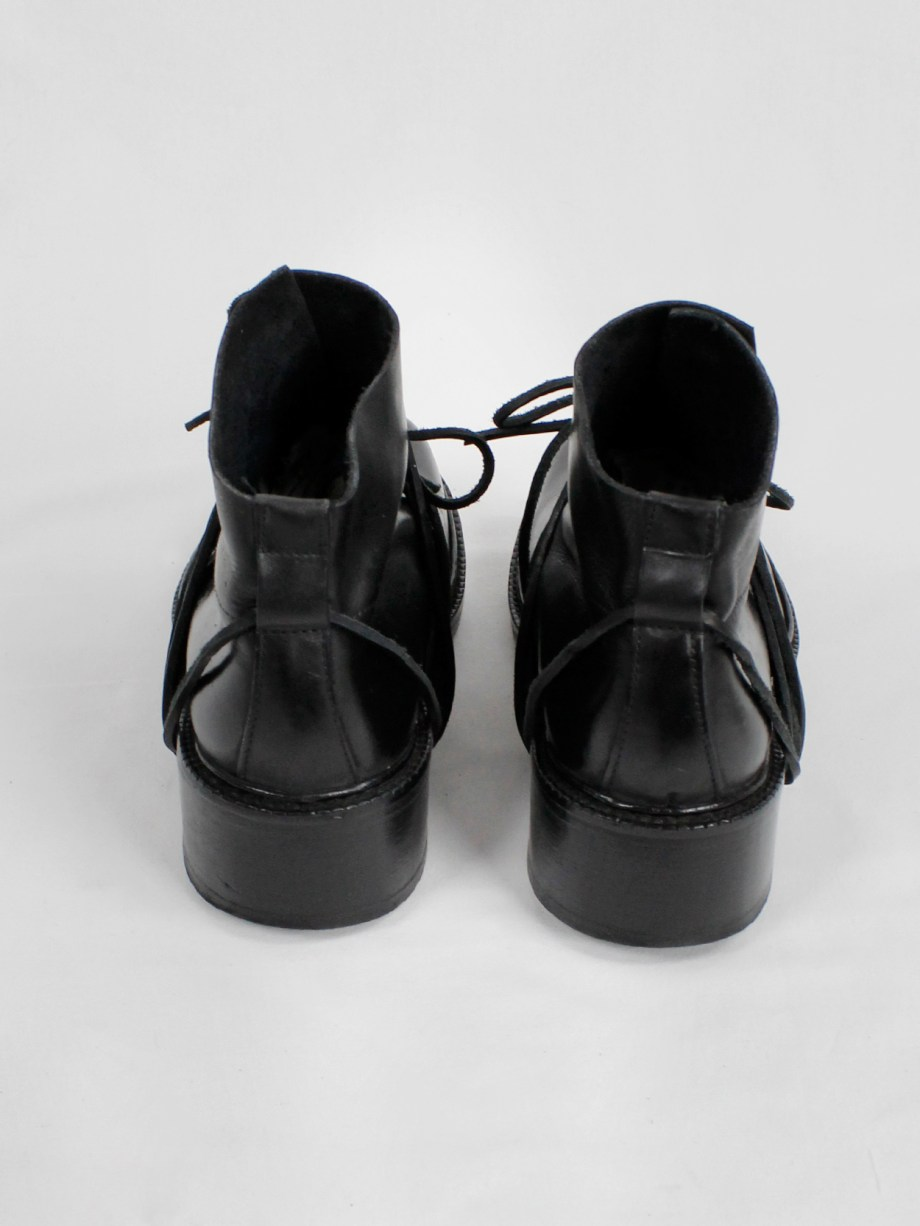 Dirk Bikkembergs black boots with flap and laces through the soles (38) — fall 1994