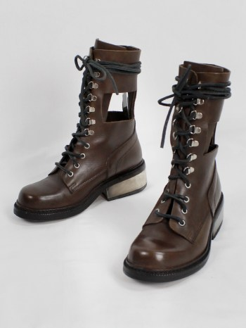 Dirk Bikkembergs brown combat boots with hooks and metal heel (38) — 1990's
