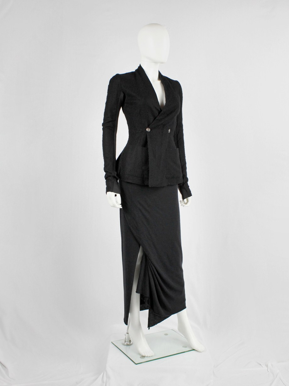 Rick Owens Lilies black maxi skirt with a slit created by a front drape